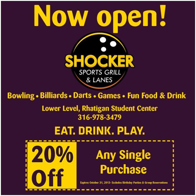Shocker Grill Sports Grill & Lanes 20% off discount